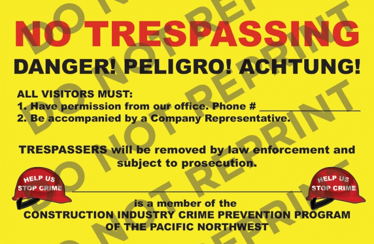 "13"" X 20"" No Trespass Sign"